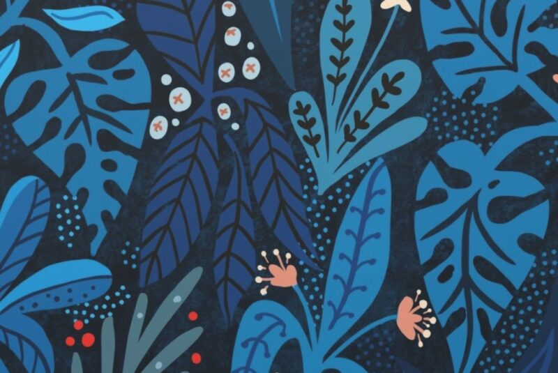 Wallpaper design with dark blue tropical leaves and orange flowers