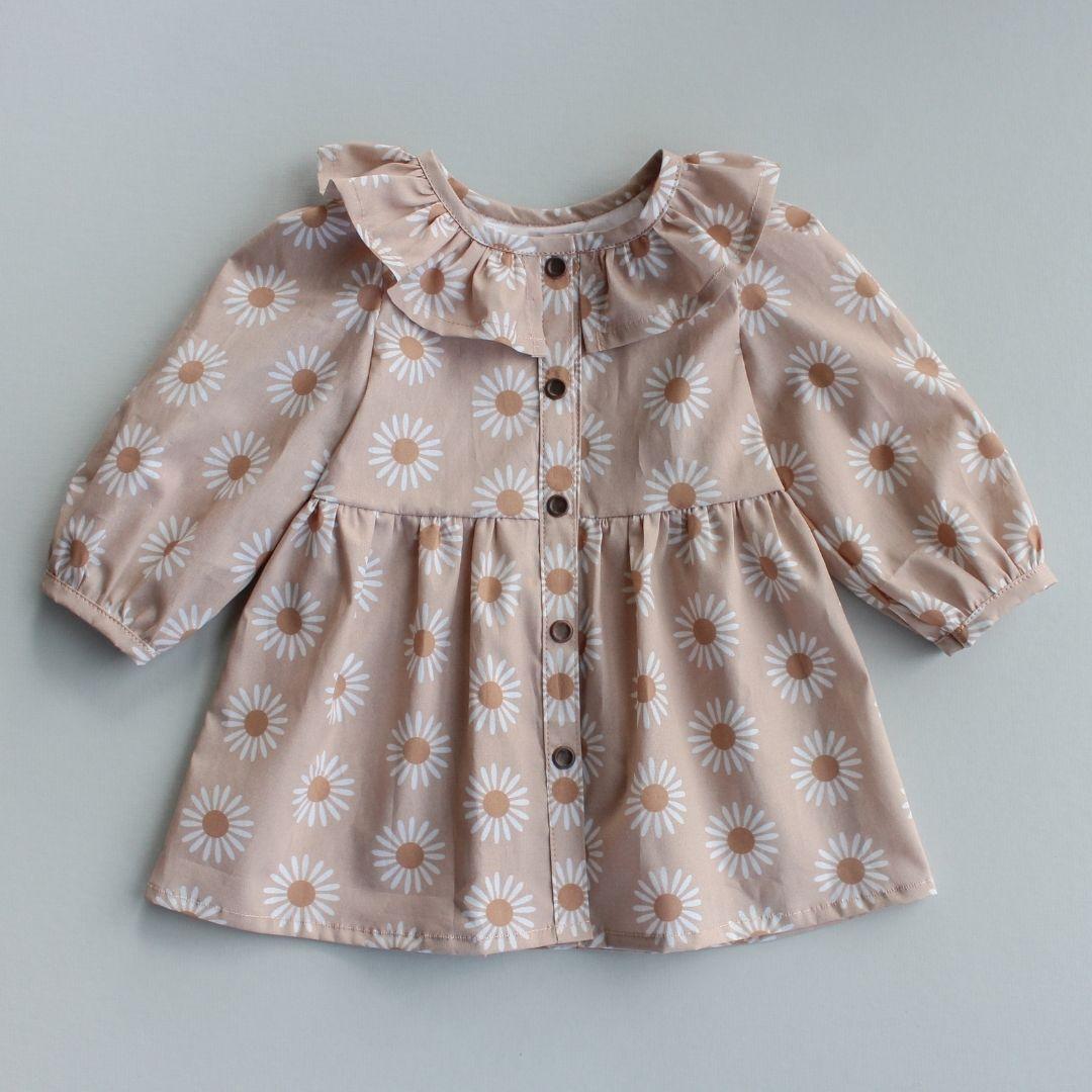 Brown ruffled baby dress