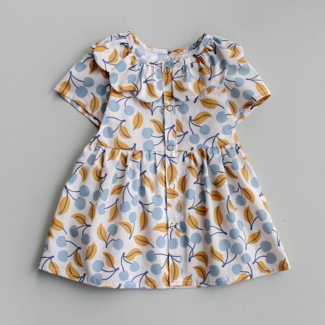 Blue and yellow ruffled baby dress