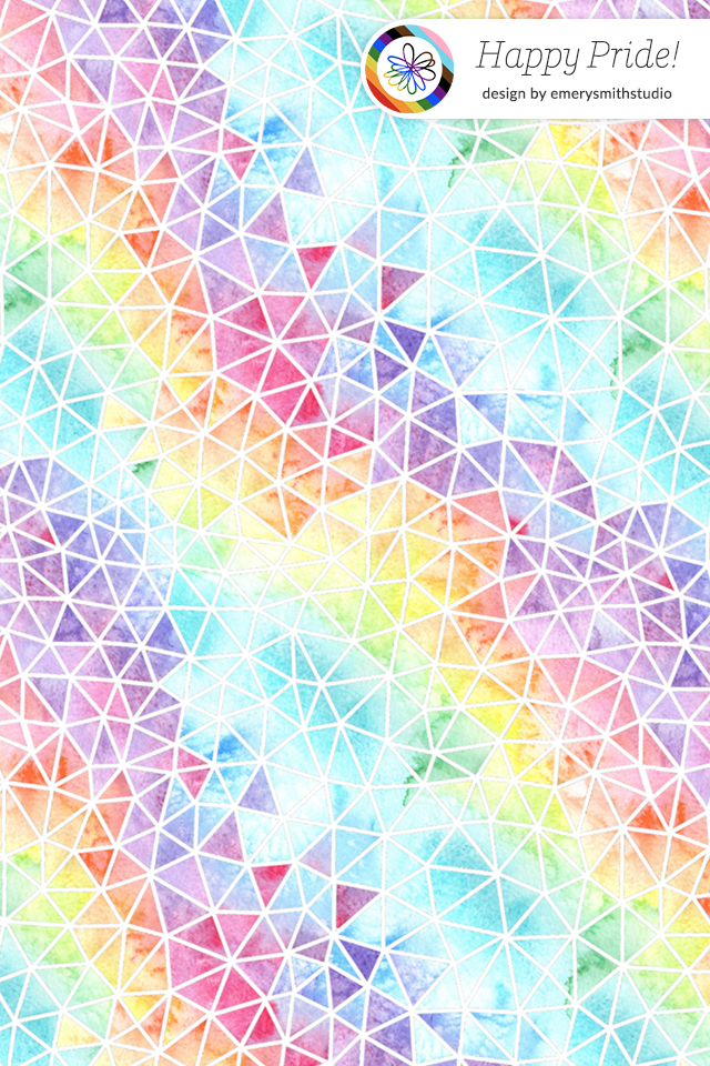 """Mobile background with geometric rainbow design that also says """"Happy Pride!"""""""