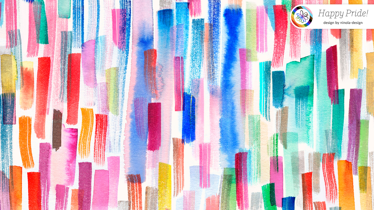"""Virtual background with colorful brushstrokes that also says """"Happy Pride!"""""""