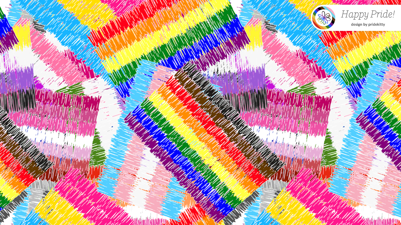 """Virtual background with Pride flag patches that also says """"Happy Pride!"""""""