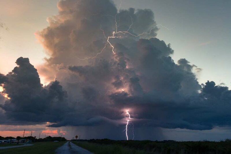 Lightning clouds during a sunset