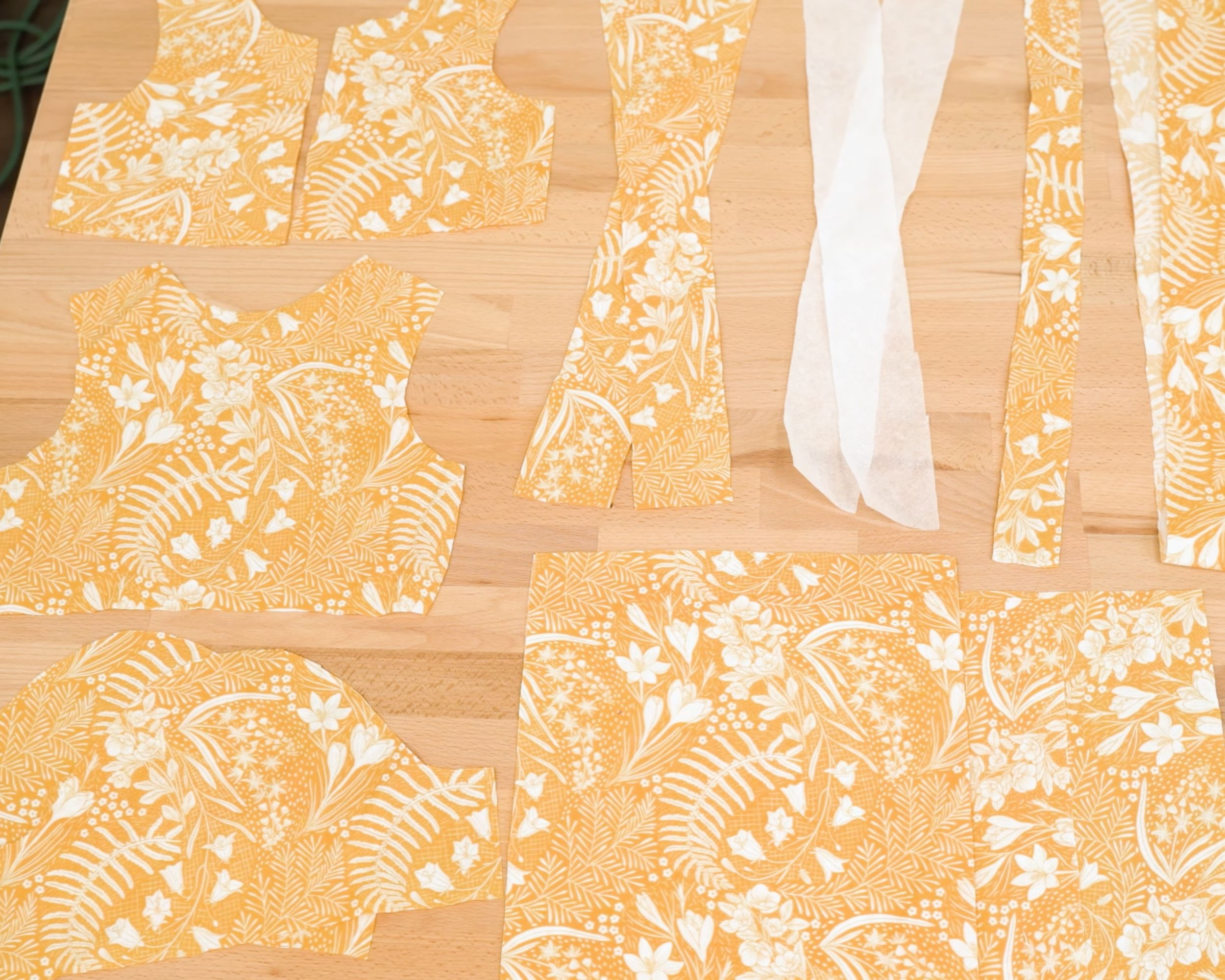 All pattern pieces for dress