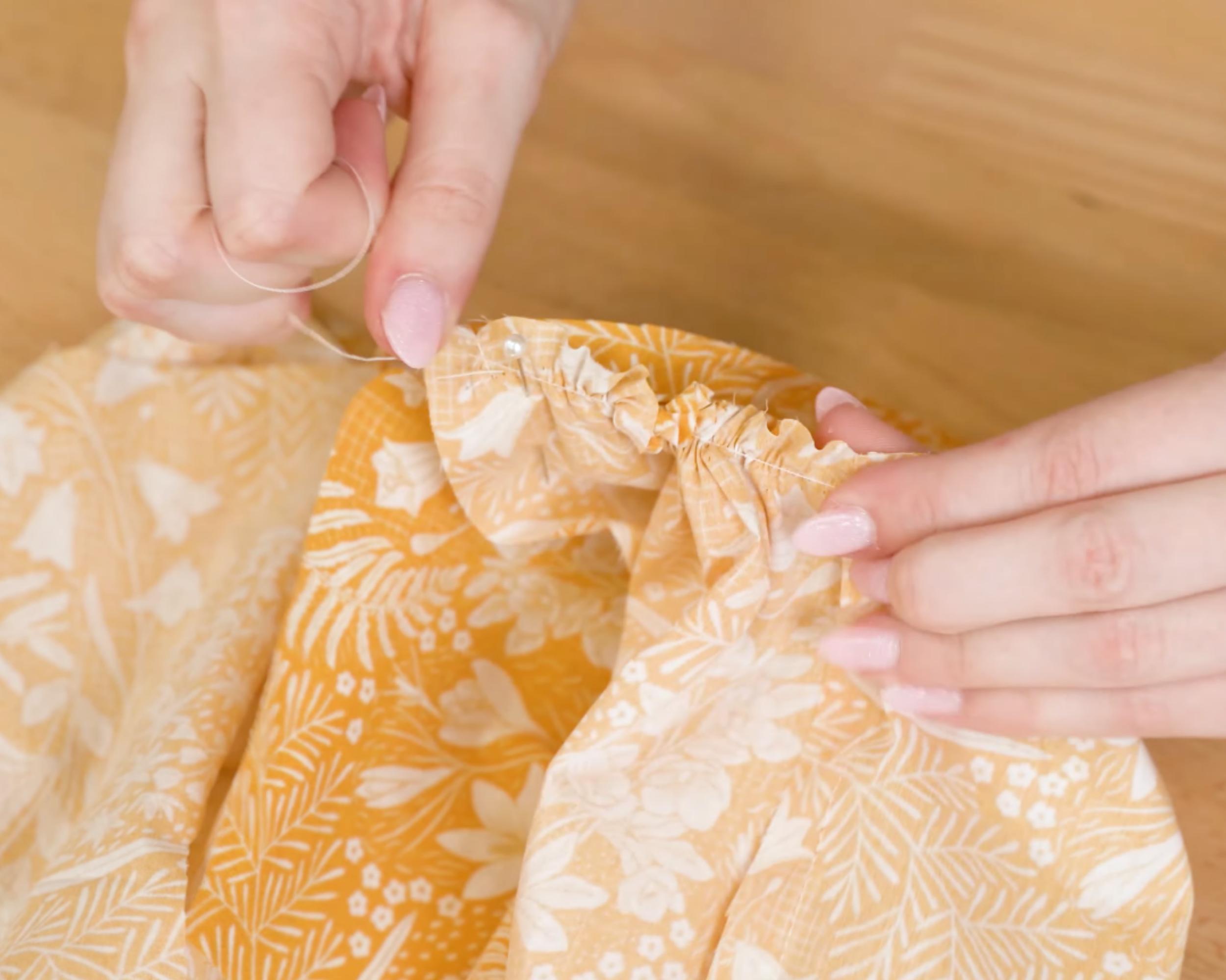 Gathering the skirt fabric