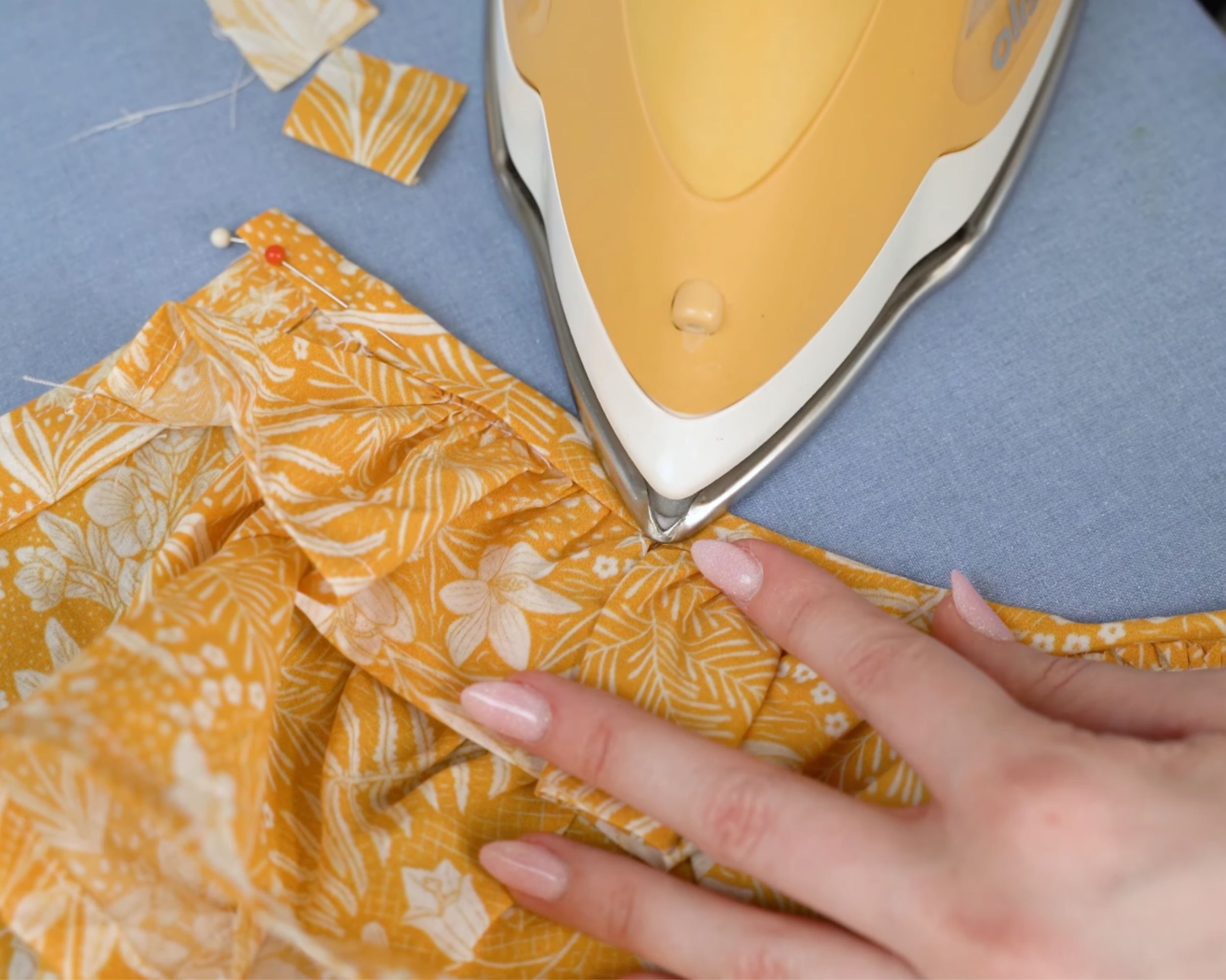 Ironing over the neckline binding