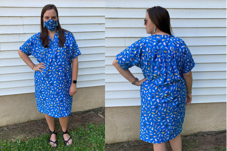 Model wearing blue dress with matching mask