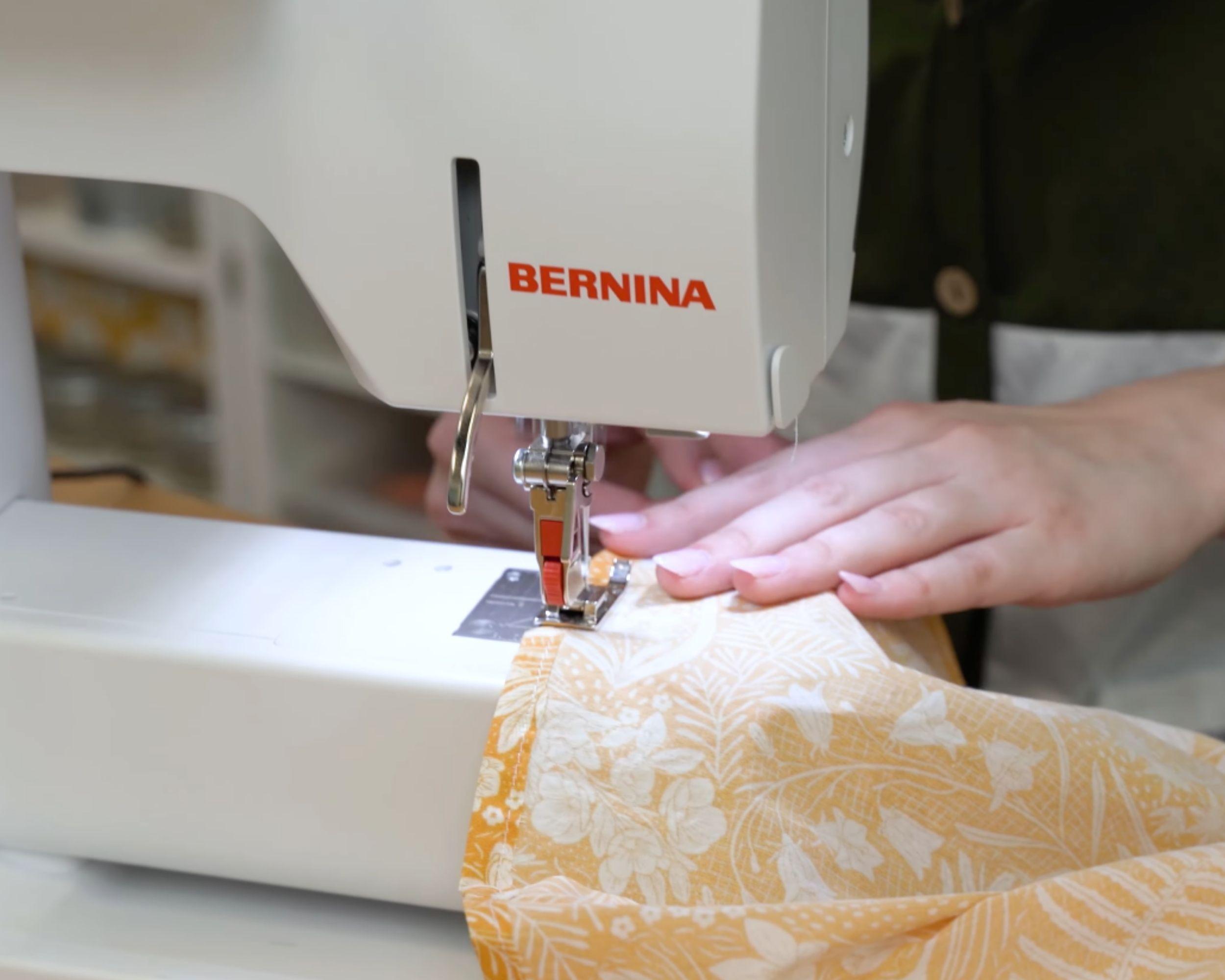 Sewing down the dress hem