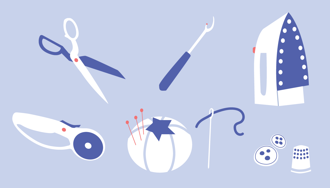 An illustration of sewing tools