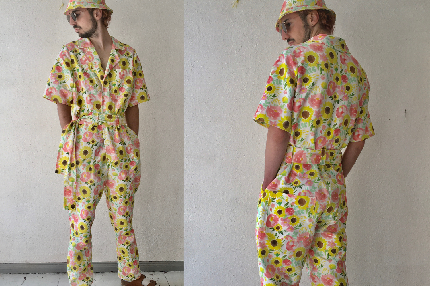 Model wearing bright yellow floral jumpsuit with matching hat