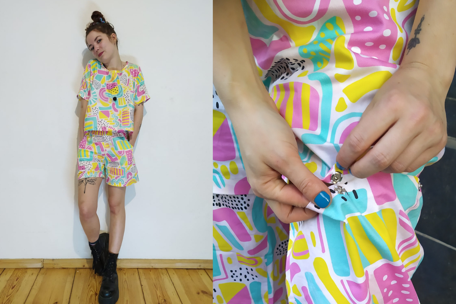 Model wearing multicolored loungewear set with pants and shirt