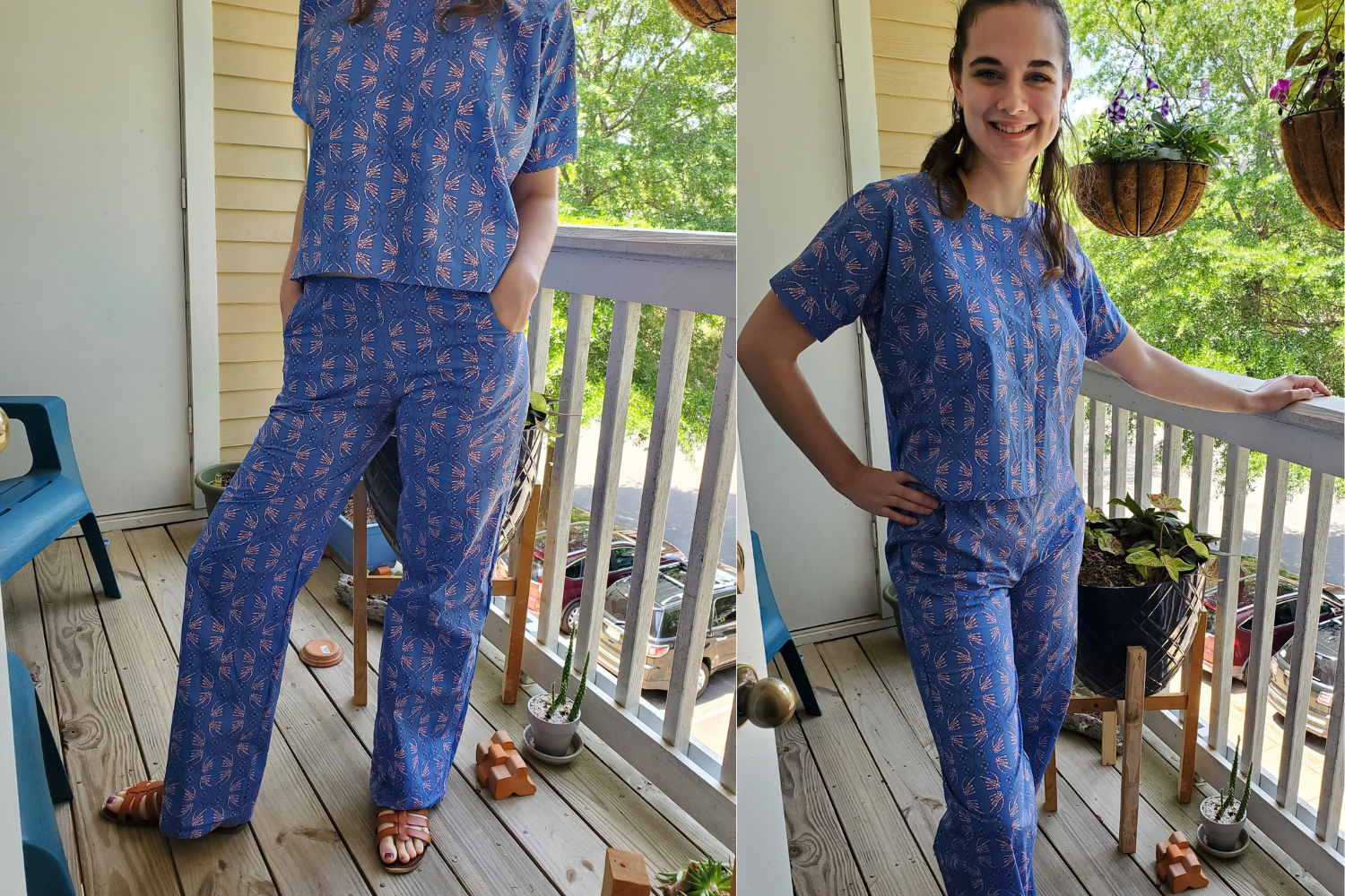 Model wearing blue loungewear set with pants and shirt