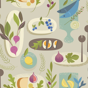 Fabric design with beige background and colorful charcuterie boards