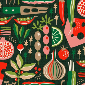 Black, red, and green charcuterie board fabric design