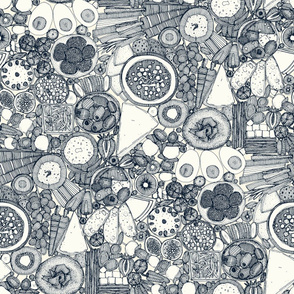 Grey and white fabric design with small foods
