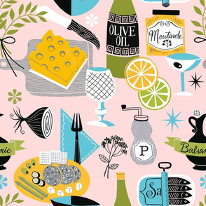 Fabric design with pink background, with yellow, green, and blue charcuterie board elements