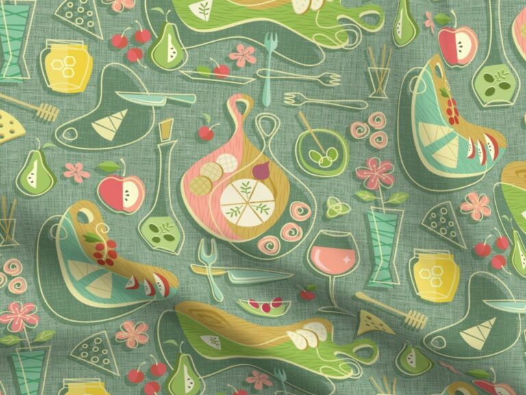 Fabric design with green and yellow retro charcuterie boards