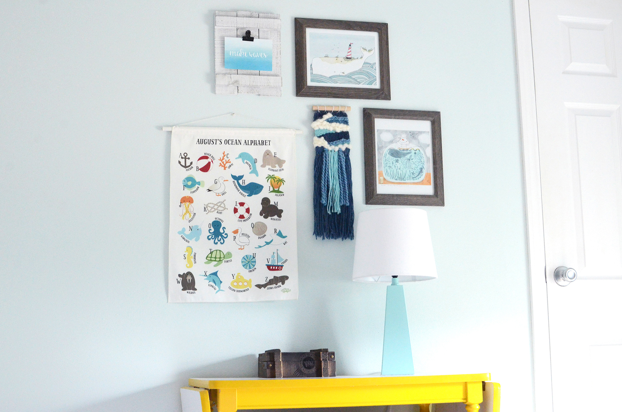 The wall in a child's room featuring a custom illustrated wall hanging