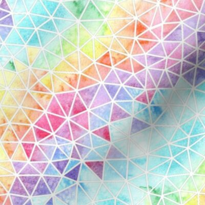 Fabric with a geometric rainbow design