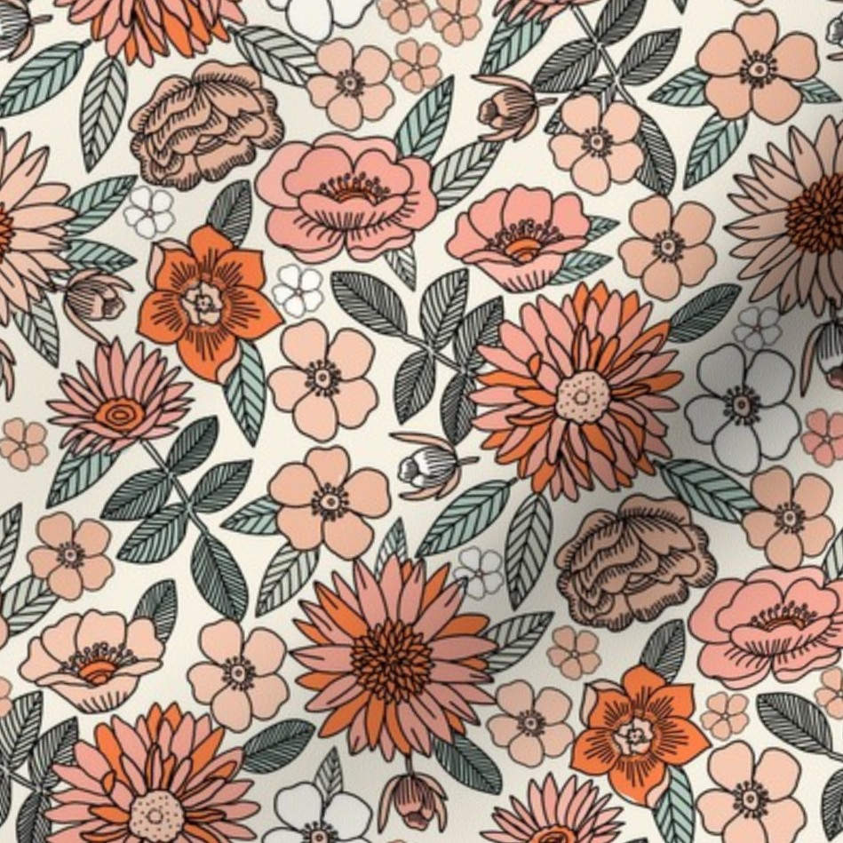 Surface pattern design featuring retro florals