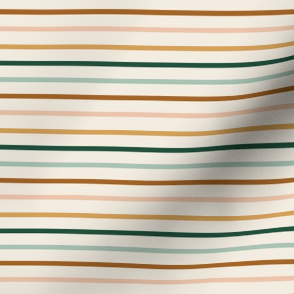 Surface pattern design with thin teal, yellow, and pink stripes on a beige background