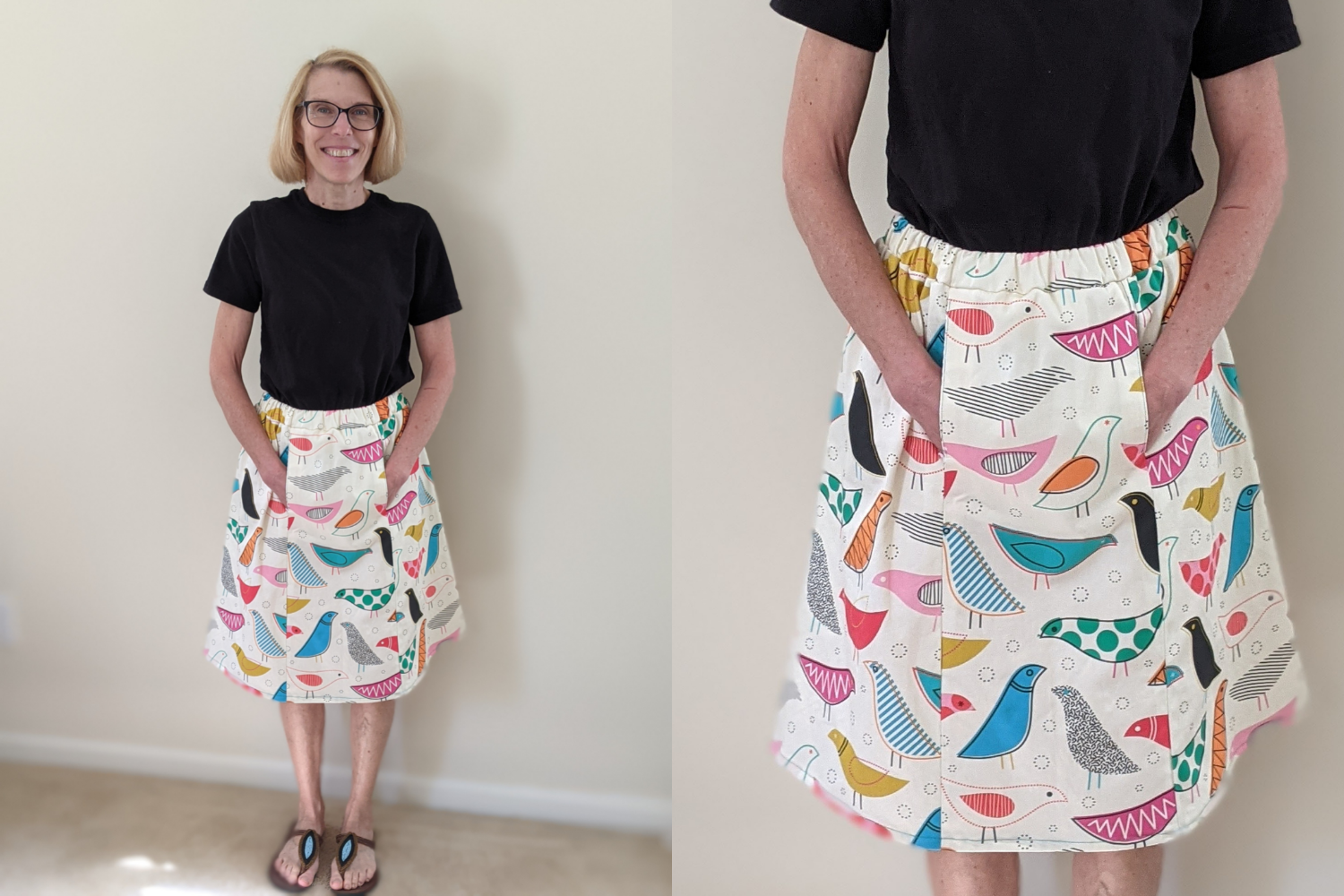 Model wearing white skirt with colorful birds