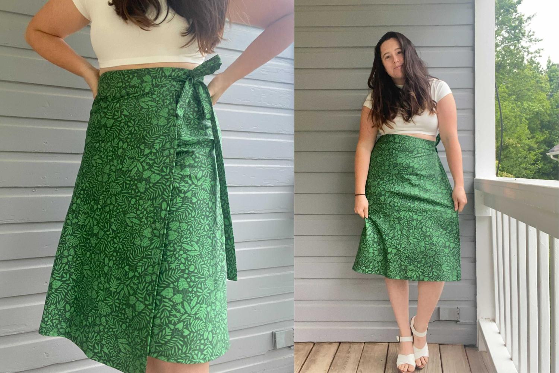 Model wearing green wrap skirt