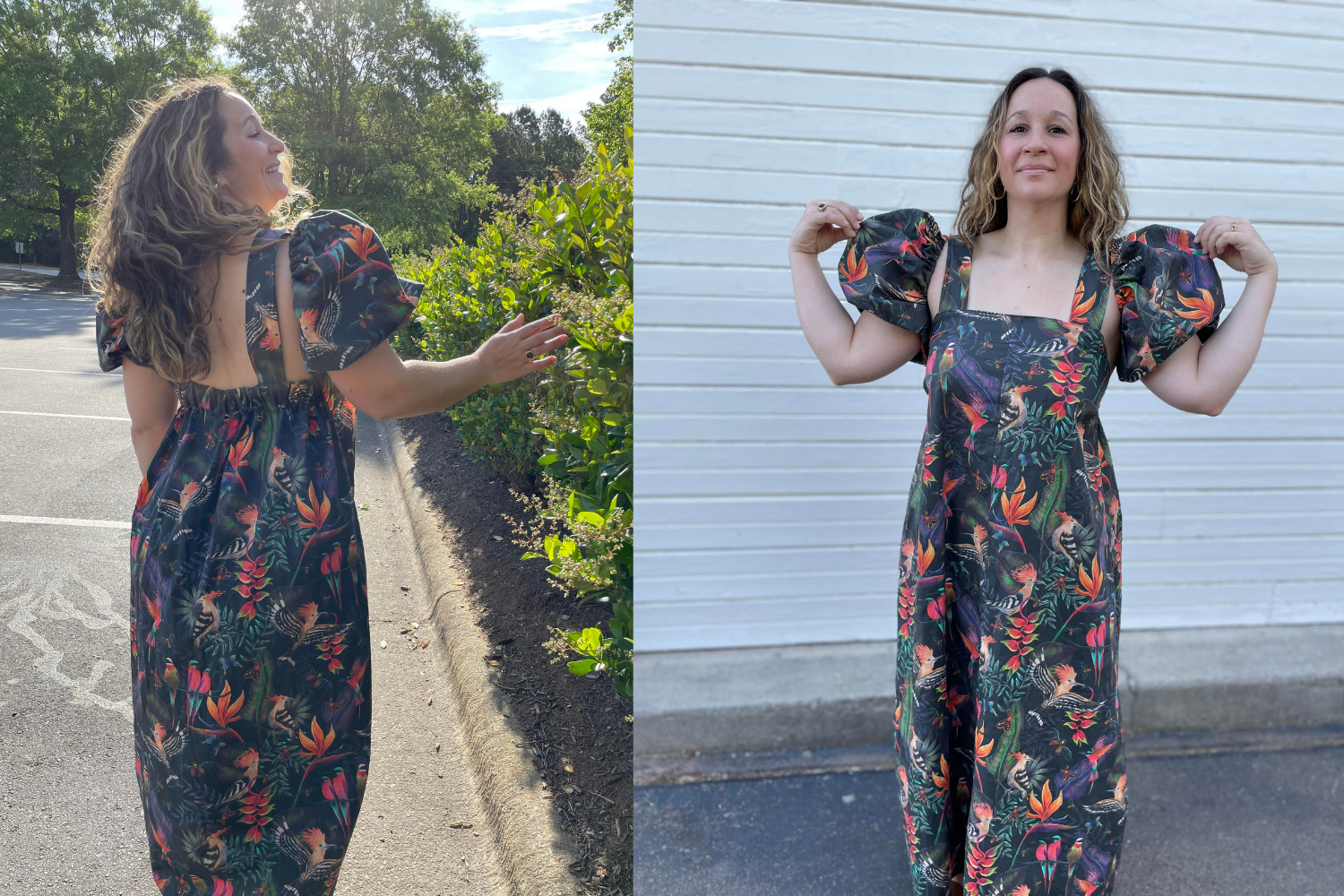 Model wearing dark floral dress with puffed short sleeves