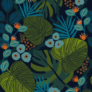 Wallpaper design with shadowed green leaves and teal flowers