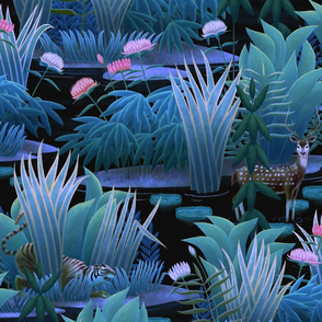 Wallpaper design with blue and green grasses