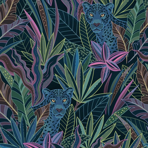 Wallpaper design with black background and colorful plants with jaguars peeking through