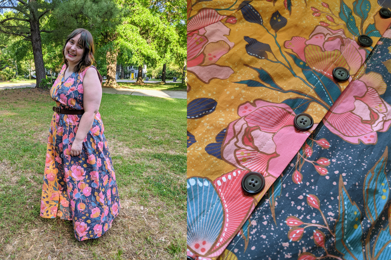 Model wearing multicolor floral dress