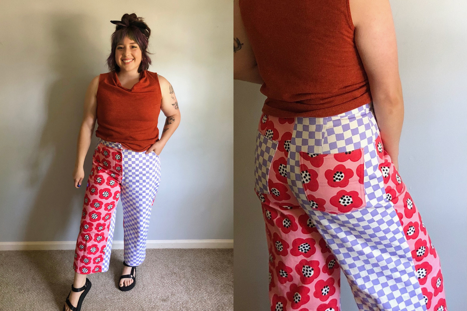Wide-legged pants with checkered and floral patterns