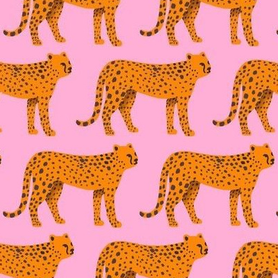 Orange cheetah repeating pattern on a pink background