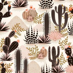 fabric design with dark cacti and pastel hills