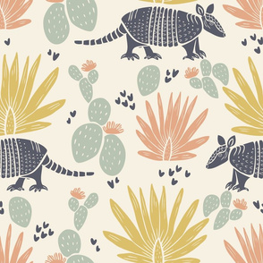 Design with pastel desert plants and grey armadillos