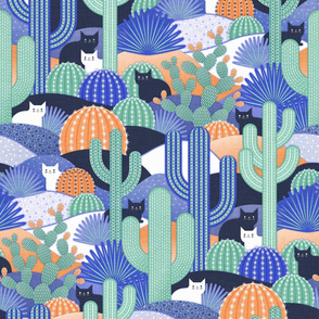 Design with blue and green cacti with cats