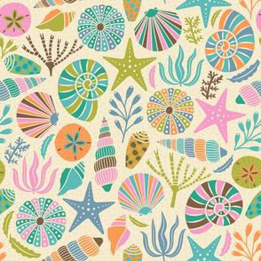 Design with bright pastel seashells