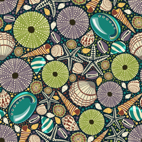 Design with green and blue seashells on a dark background