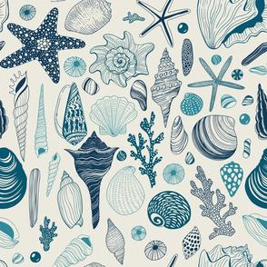 Design with light and dark blue seashells