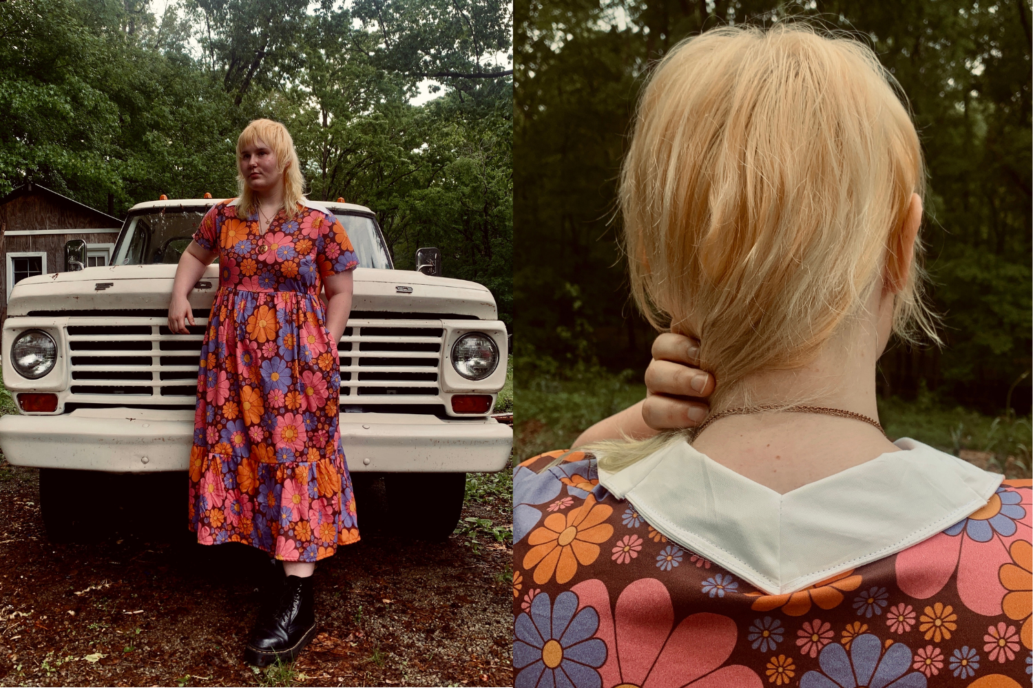 Model wearing dress with pink and orange retro flowers