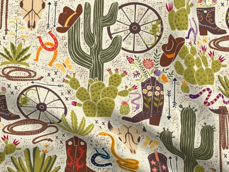 fabric design with cacti and cowboy boots