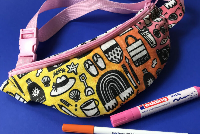 Colorful Fanny Pack created with a free pattern