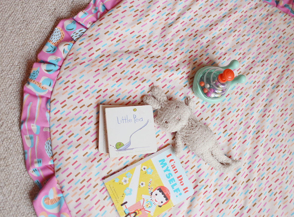 Arial shot of play mat with toys sitting on top