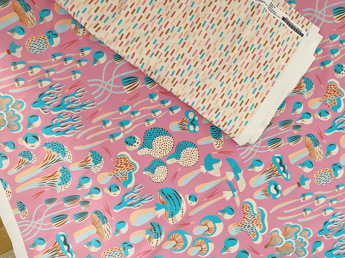 Pink mushroom fabric and rainbow sprinkles fabric