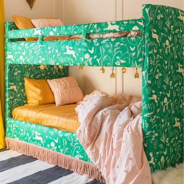 Upholstered green bunk bed