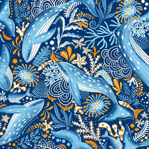 Design with blue whales and orange marine plants