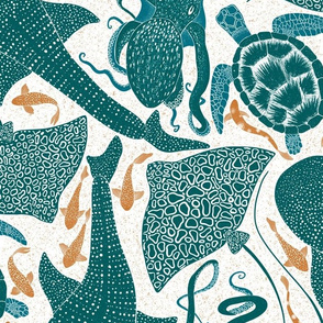 Design with green and orange marine animals