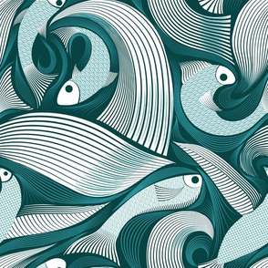 Design with green fish