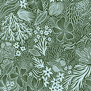 Design with a muted green background and sea plants
